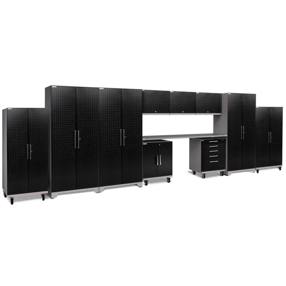 Performance Plus 2.0 Diamond Plate 85.25 in. H x 253 in. W x 24 in. D Steel Garage Cabinet Set in Black (12-Piece)