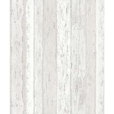 56.4 sq. ft. Cannon Cream Distressed Wood Wallpaper