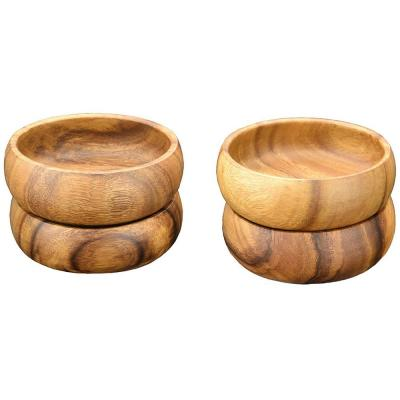 Natural 6 in. Wooden Salad and Pasta Bowl (Set of 4)