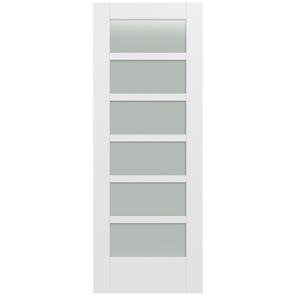 32 in. x 80 in. MODA Primed PMT1066 Solid Core Wood Interior Door Slab w/Translucent Glass