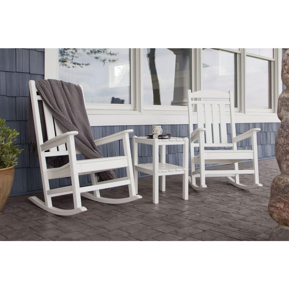 Polywood Presidential White 3 Piece Patio Rocker Set