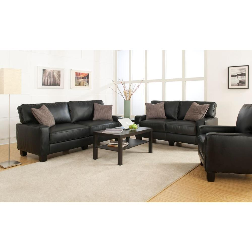 Serta Santa Rosa Black Bonded Leather Arm Chair-CR44106 - The Home Depot