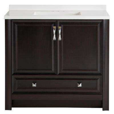 Candlesby 36-1/2 in. W x 18-3/4 in. D Bath Vanity in Charcoal with AB Vanity Top in White