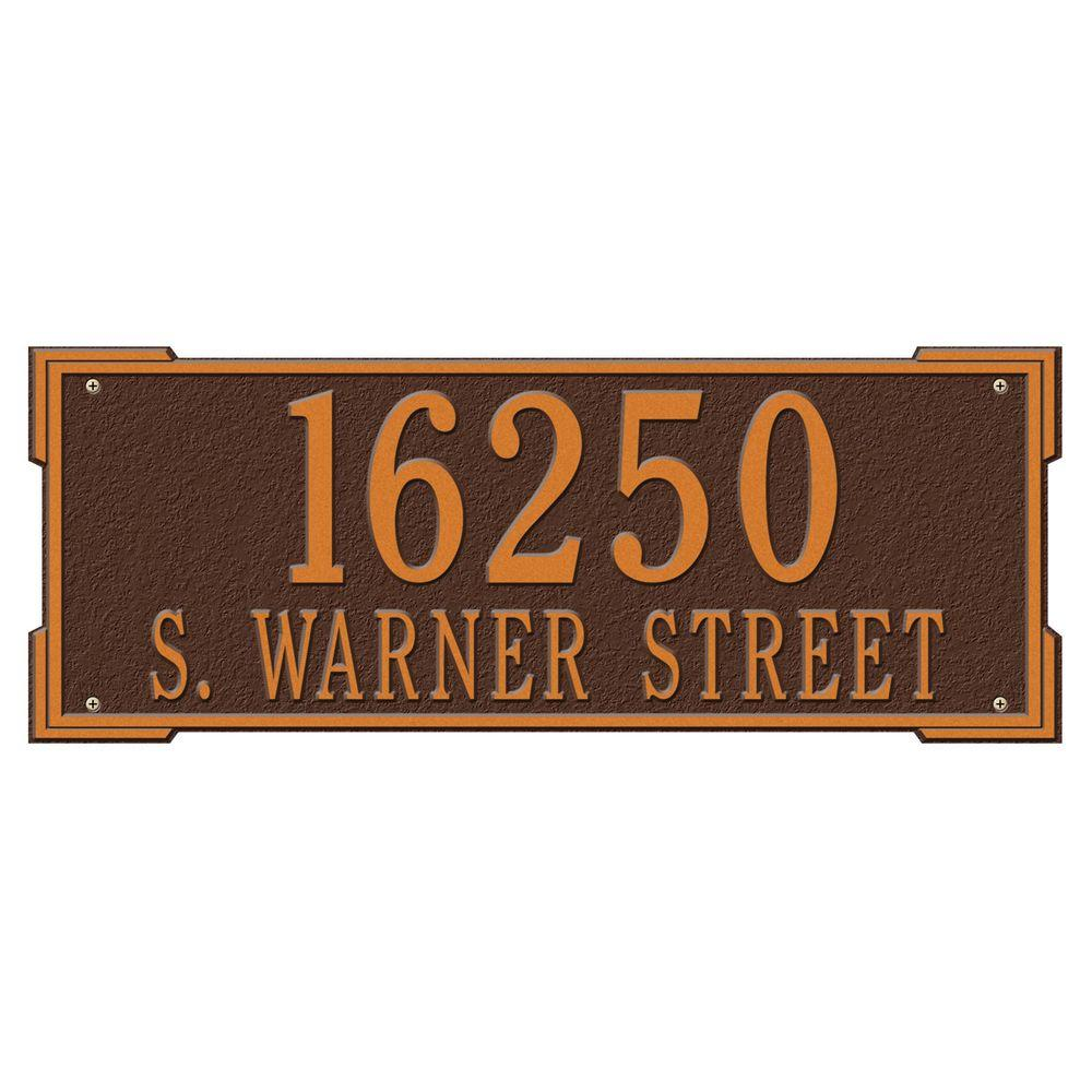 Whitehall Products Rectangular Roanoke Estate Wall 2-Line Address Plaque - Antique Copper