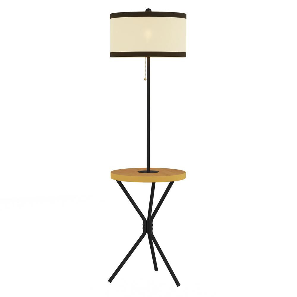 Lavish Home 58 in. Light Brown and Black Mid-Century Modern LED Floor Lamp End Table with USB Charging Port