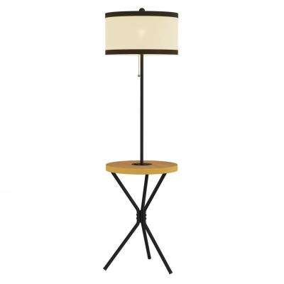 58 in. Light Brown and Black Mid-Century Modern LED Floor Lamp End Table with USB Charging Port
