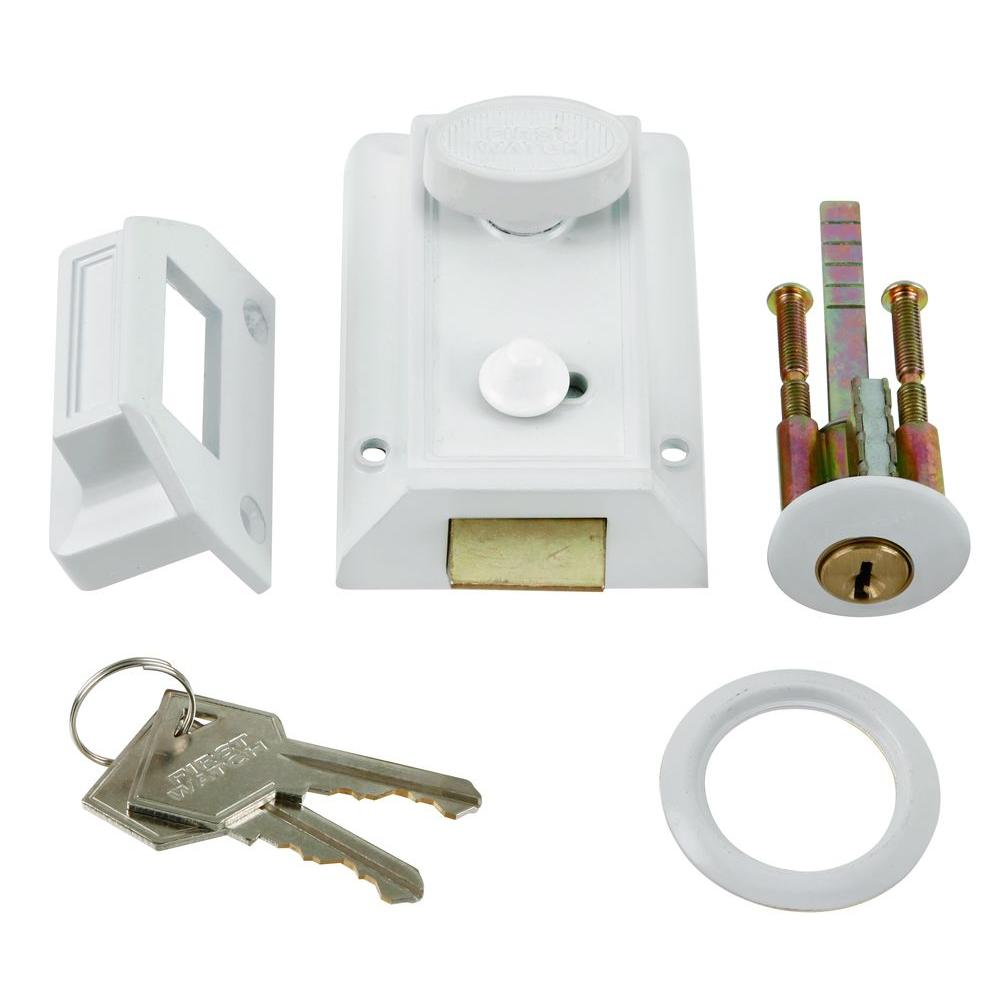 First Watch Security White Door Night Latch and Locking Cylinder