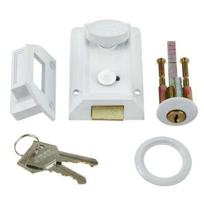 White Door Night Latch and Locking Cylinder
