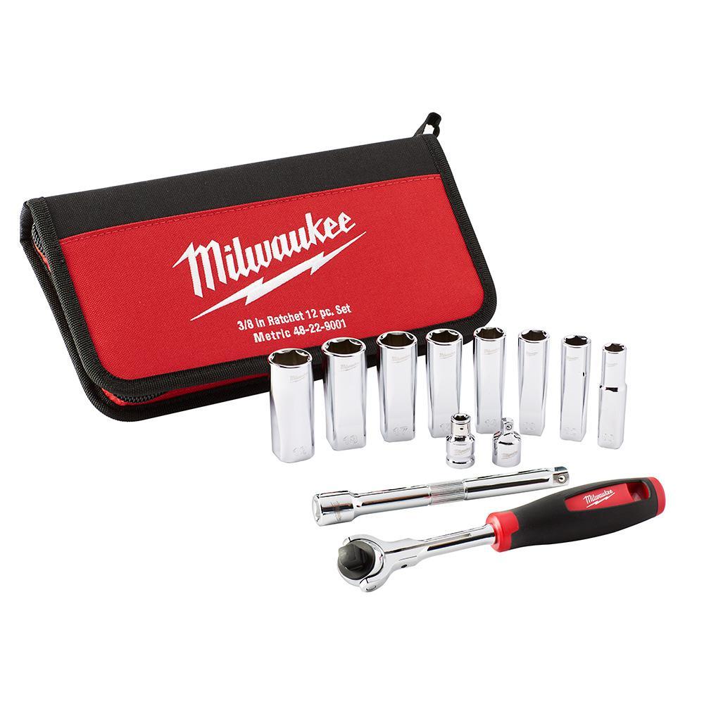 Milwaukee 3/8 inch Drive Metric Socket Set (12-Piece) by Milwaukee