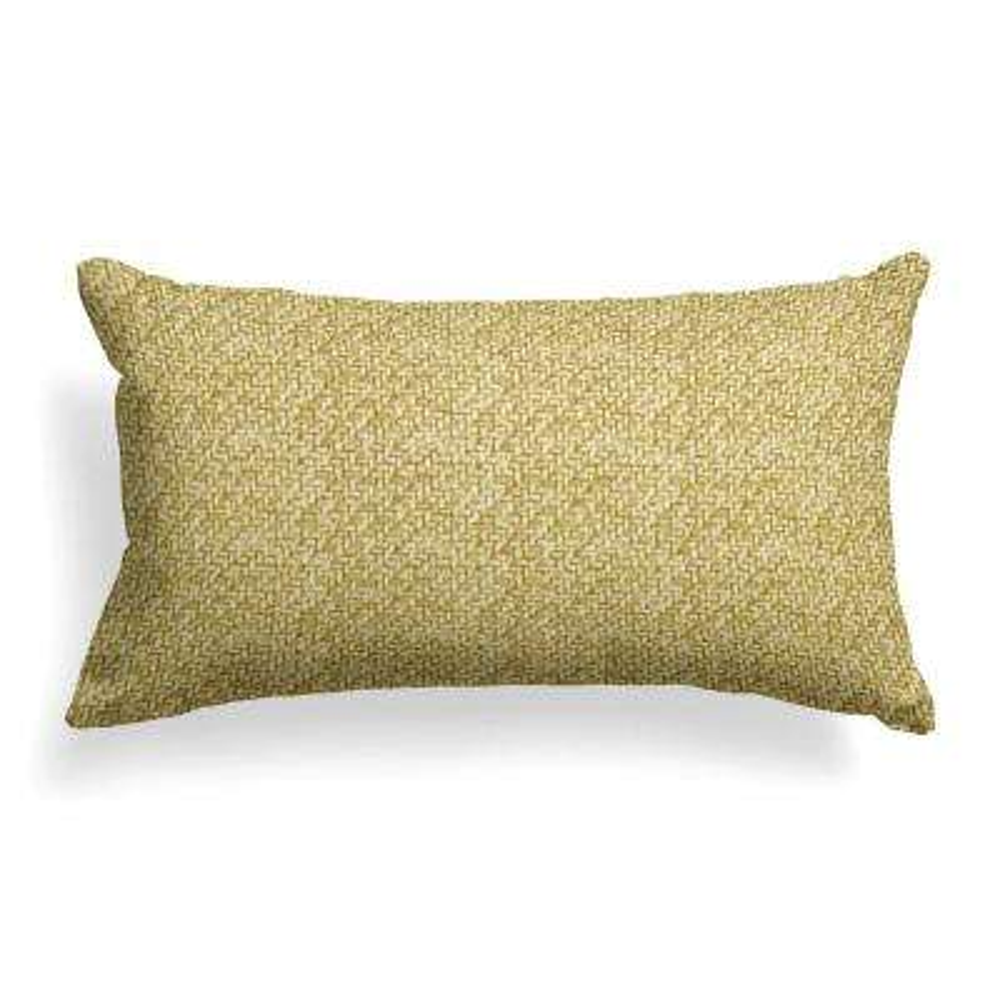 Woven Green Rectangular Lumbar Outdoor Pillow