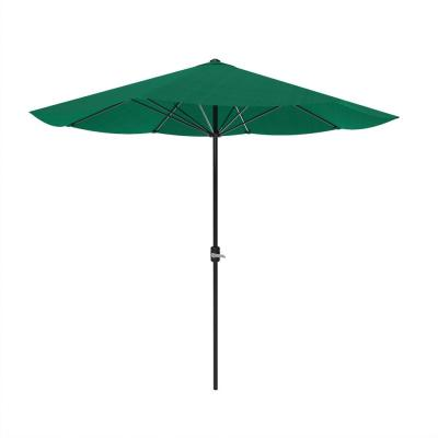 9 ft. Aluminum Patio Umbrella with Hand Crank in Hunter Green