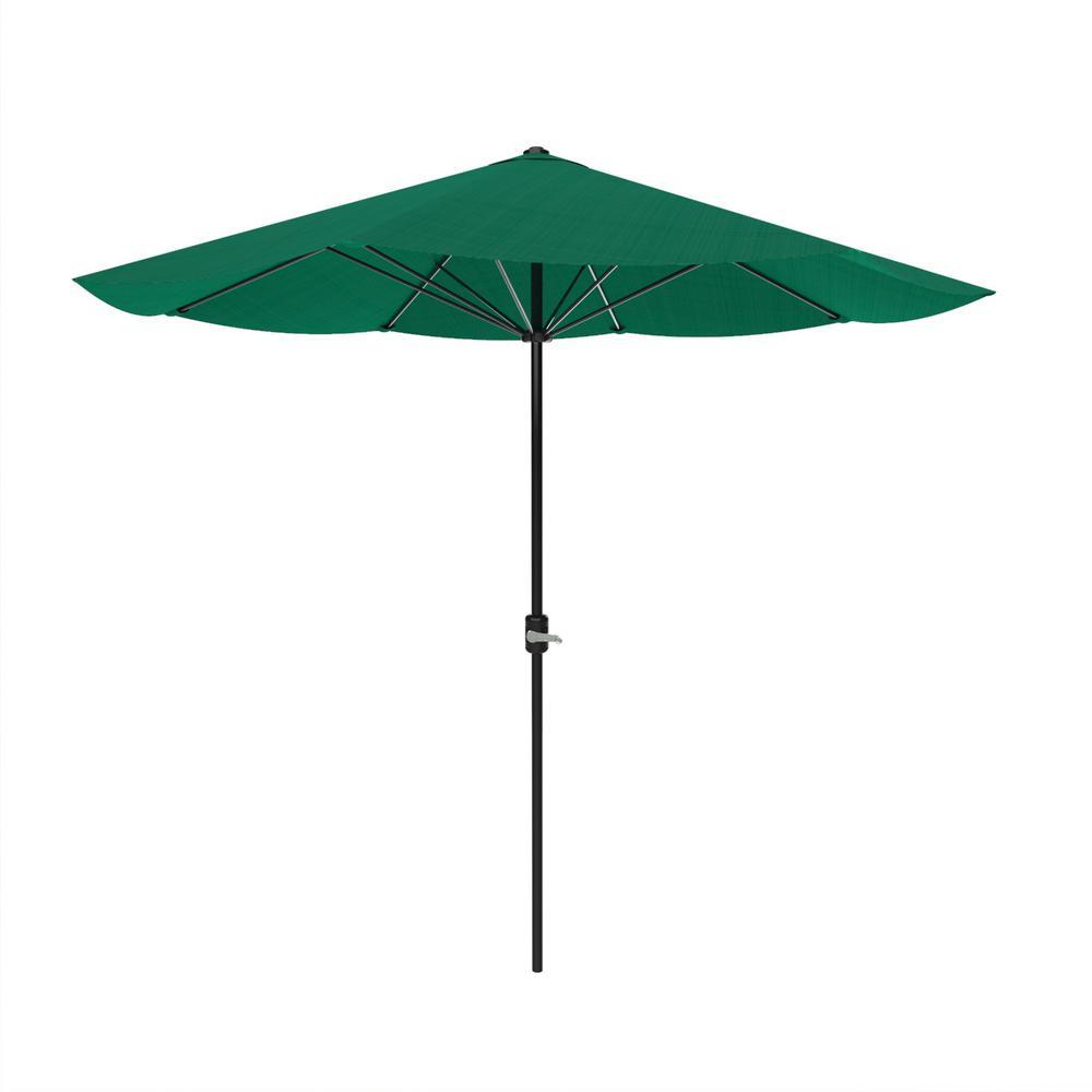 9 ft. Aluminum Patio Umbrella with Hand Crank in Hunter Green