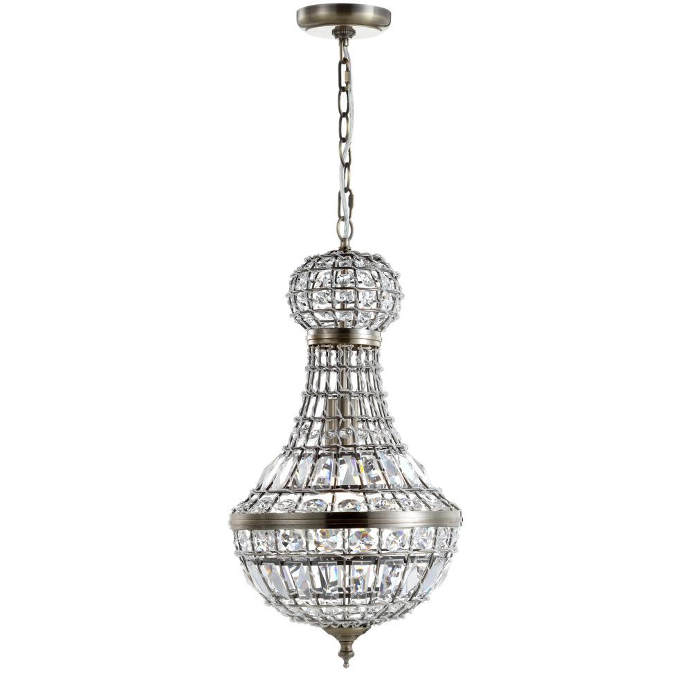 Regina 10 in. 1-Light Antique Brass Crystal/Metal Empire LED Chandelier