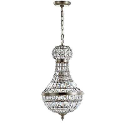 Regina 10 in. 1-Light Antique Brass Crystal/Metal Empire LED Chandelier