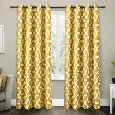 High Quality Gates Sundress Yellow Sateen Blackout Thermal Grommet Top Window Curtain