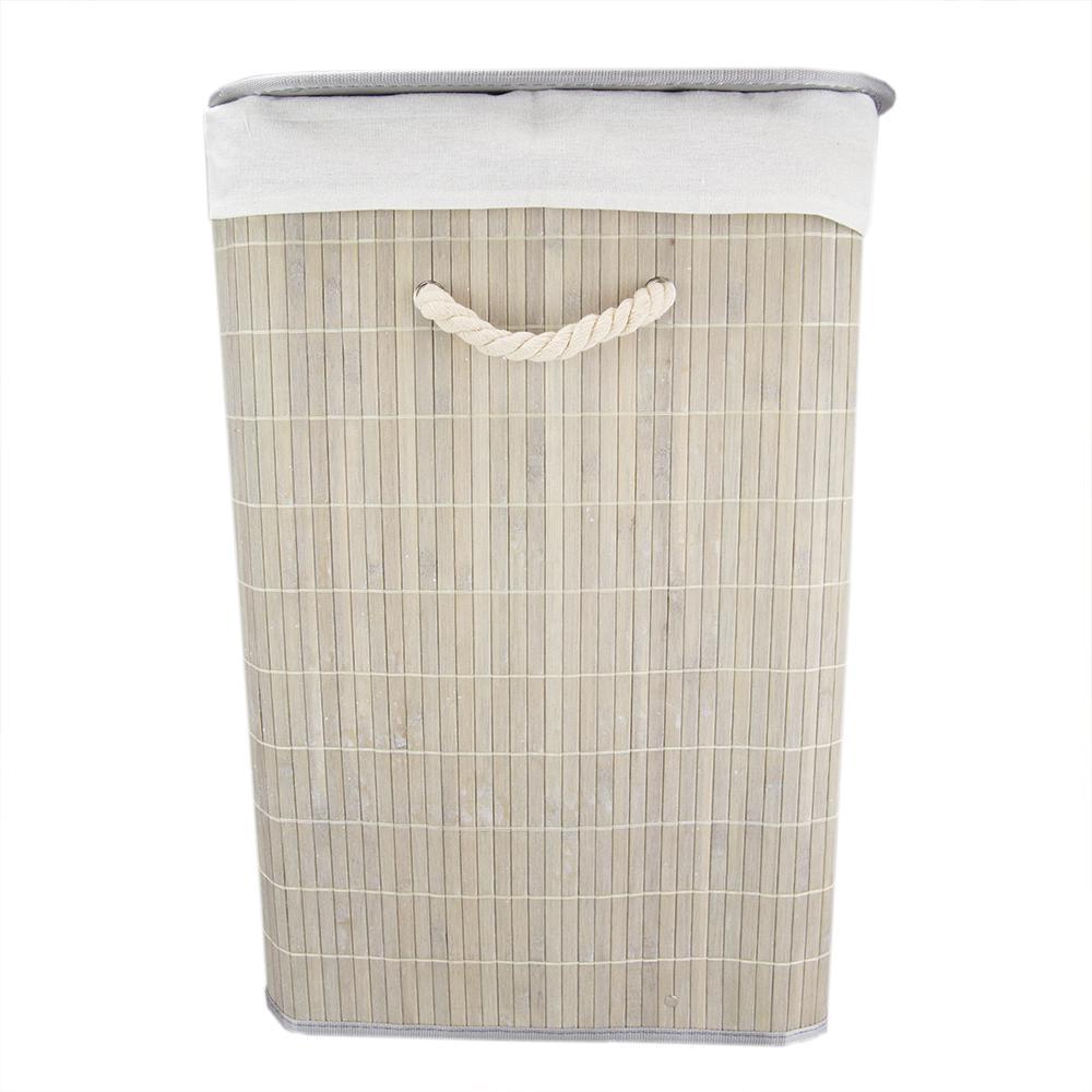 Grey Bamboo Laundry Hamper Bh45164