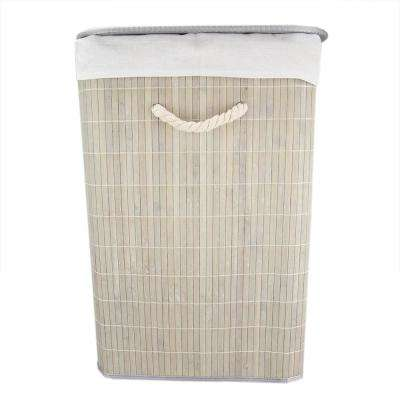 Rectangular Grey Bamboo Laundry Hamper