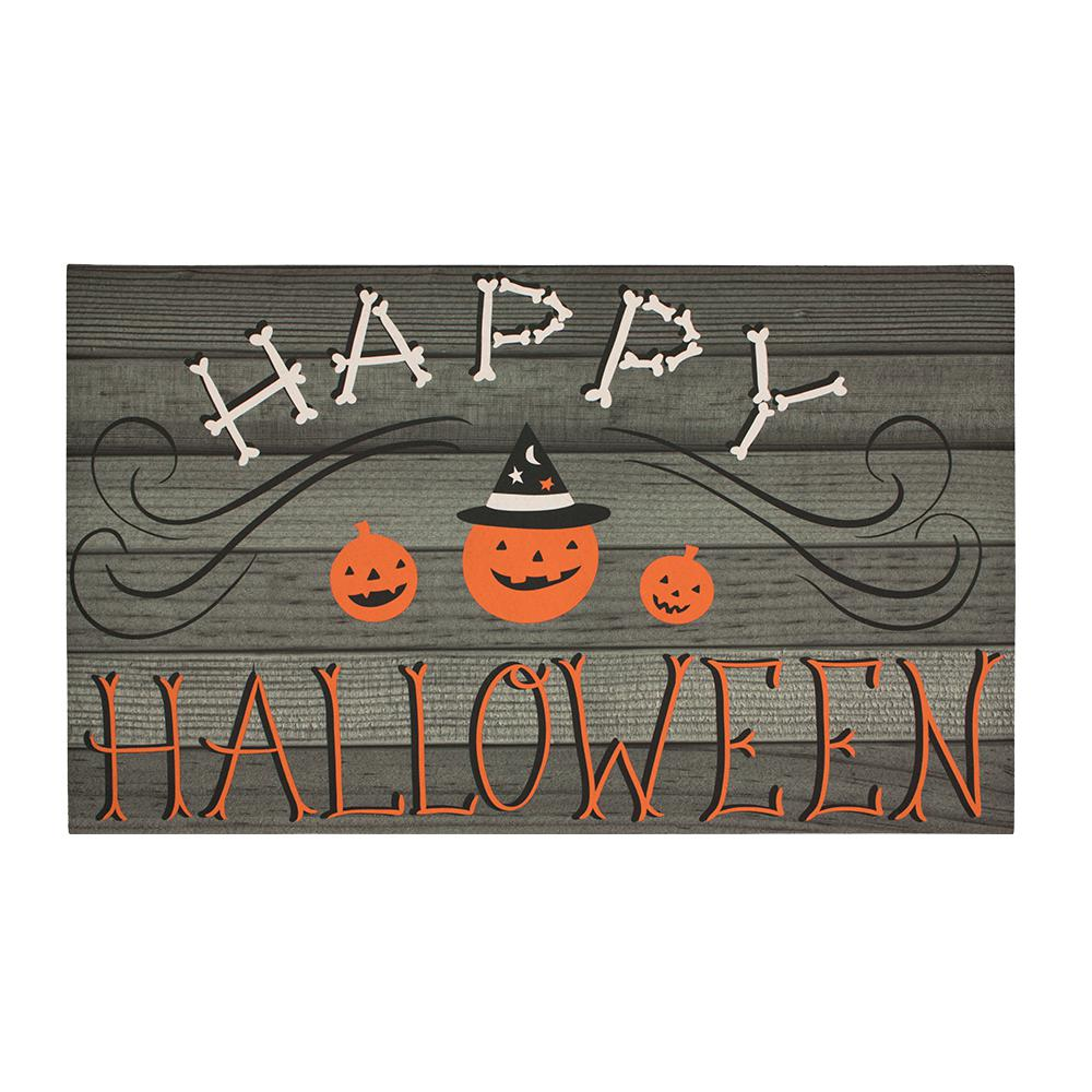 home accents halloween plank greetings 18 in. x 30 in. elegant entry