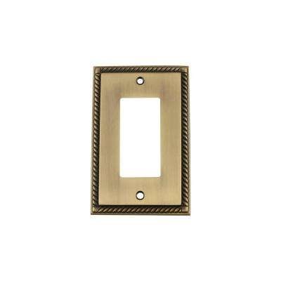 Rope Switch Plate with Single Rocker in Antique Brass