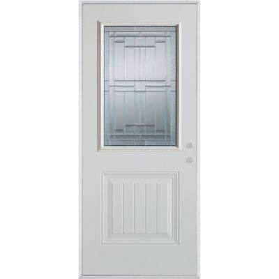 33.375 in. x 82.375 in. Left-Hand Architectural 1/2 Lite Decorative 1-Panel Painted White Steel Prehung Front Door