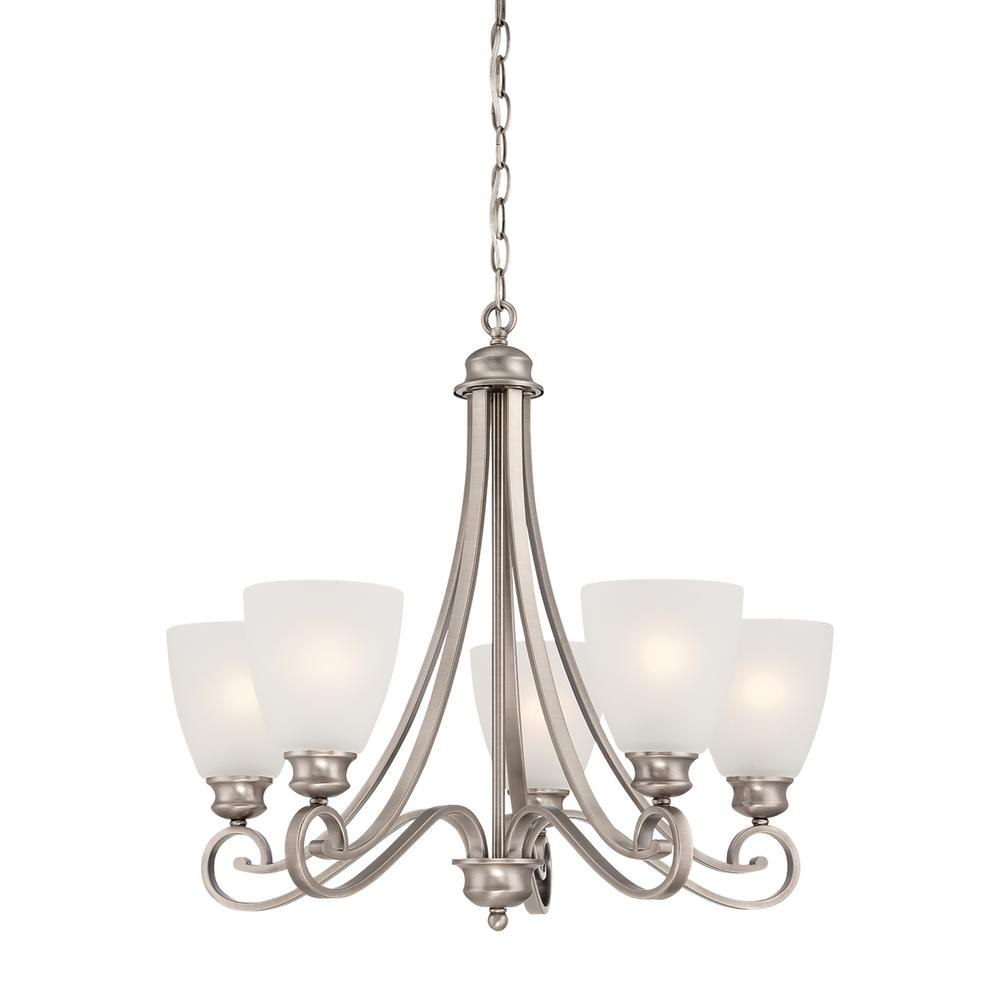 thomas lighting triton 5 light moonlight silver chandelier with tea stained glass shade sl80872. Black Bedroom Furniture Sets. Home Design Ideas