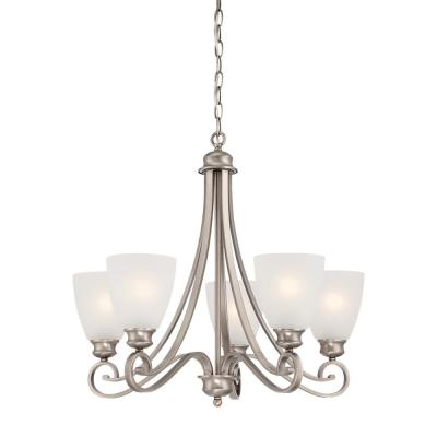 Haven 5-Light Satin Pewter Chandelier With Etched Glass Shades