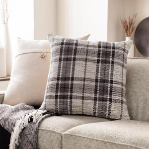 Mangus Charcoal Plaid Polyester Fill 18 in. x 18 in. Decorative Pillow