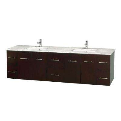Centra 80 in. Double Vanity in Espresso with Marble Vanity Top in Carrara White and Under-Mount Sinks