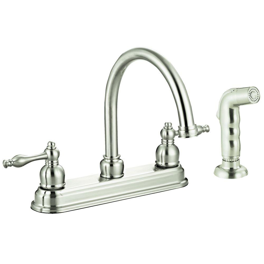 Design House Saratoga 2-Handle Side Sprayer Kitchen Faucet in Satin Nickel-DISCONTINUED