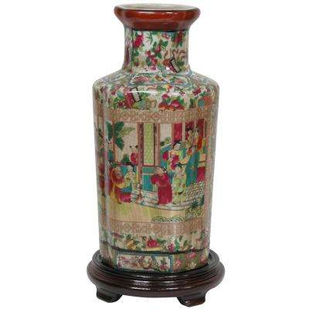 Oriental Furniture 12 in. Porcelain Decorative Vase in Red