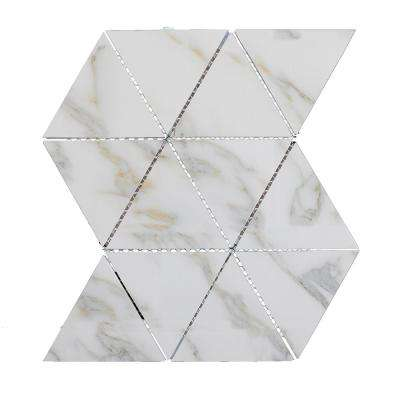 Nature Triangle Calacatta Gold 12 in. x 11.625 in. x 6.35 mm Glass Mosaic Tile