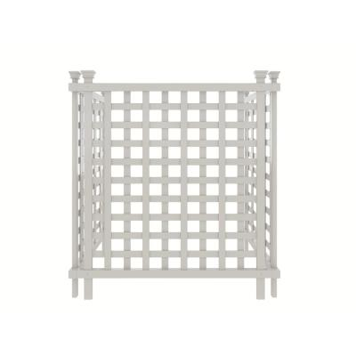Liberty Lattice 3.5 ft. x 3 ft. White Vinyl AC Screen Fence Panel
