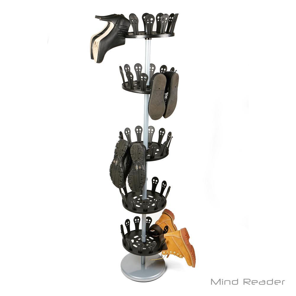 30-Pair Black Revolving Plastic/Metal Shoe Organizer