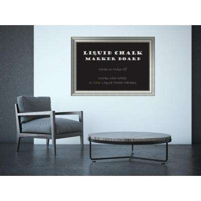 Vegas Burnished Silver Wood 41 in. W x 29 in. H Framed Liquid Chalk Marker Board