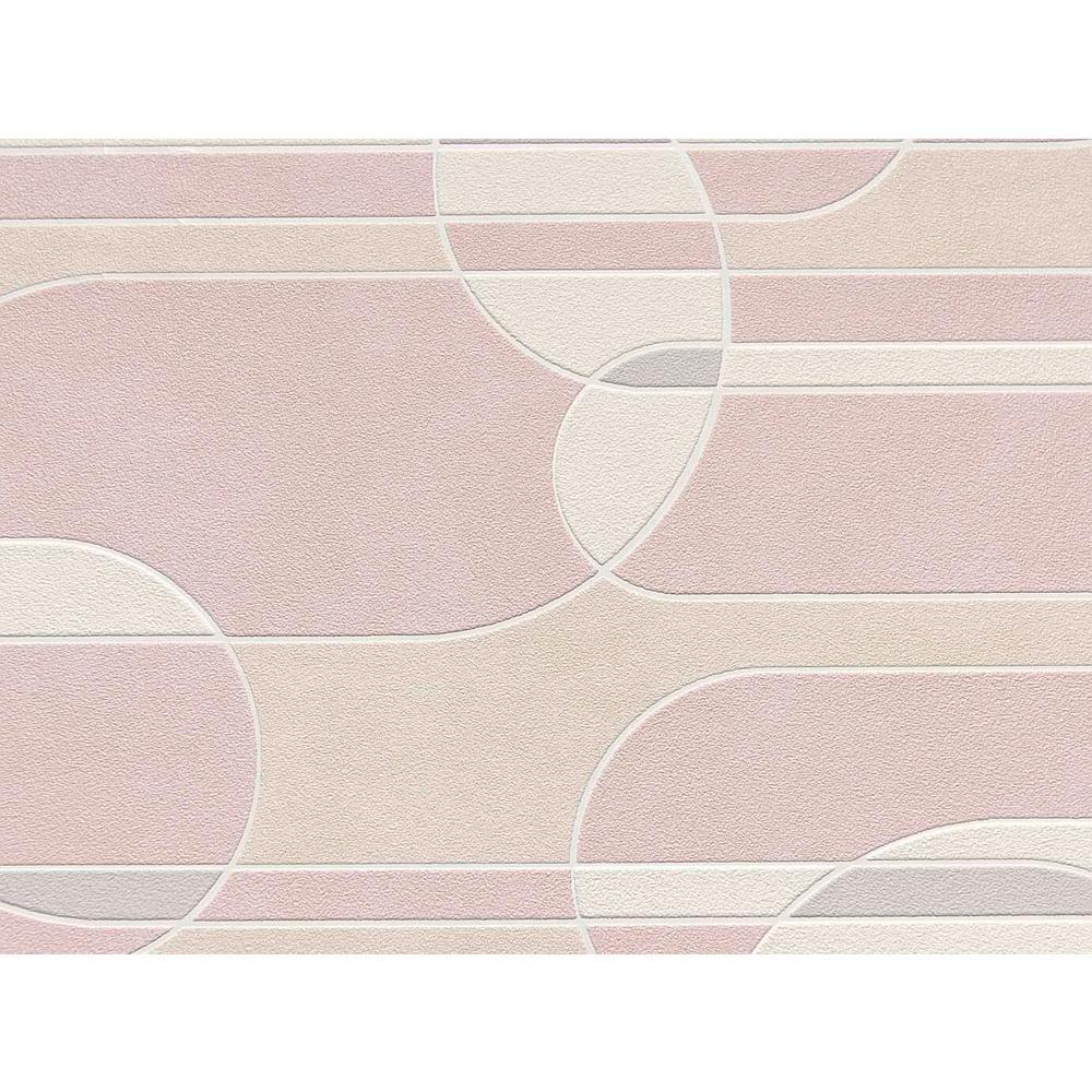 Pink & Beige Funky Transparent Oval Wallpaper