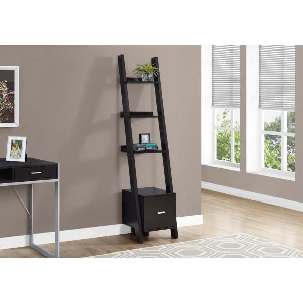 69 in. Cappuccino Faux Wood 4-shelf Ladder Bookcase with Open Back