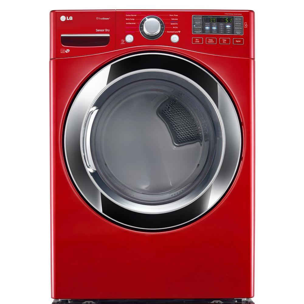 7.4 cu. ft. Electric Dryer with Steam in Wild Cherry Red,