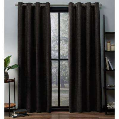 Oxford 52 in. W x 63 in. L Woven Blackout Grommet Top Curtain Panel in Espresso (2 Panels)