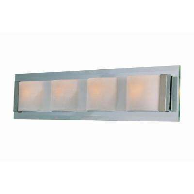 4-Light Polished Steel Wall Lamp with Frost Glass
