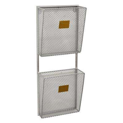8 in. x 3.75 in. x 20.5 in. Metal Wall Storage Rack 2 Tier in Silver