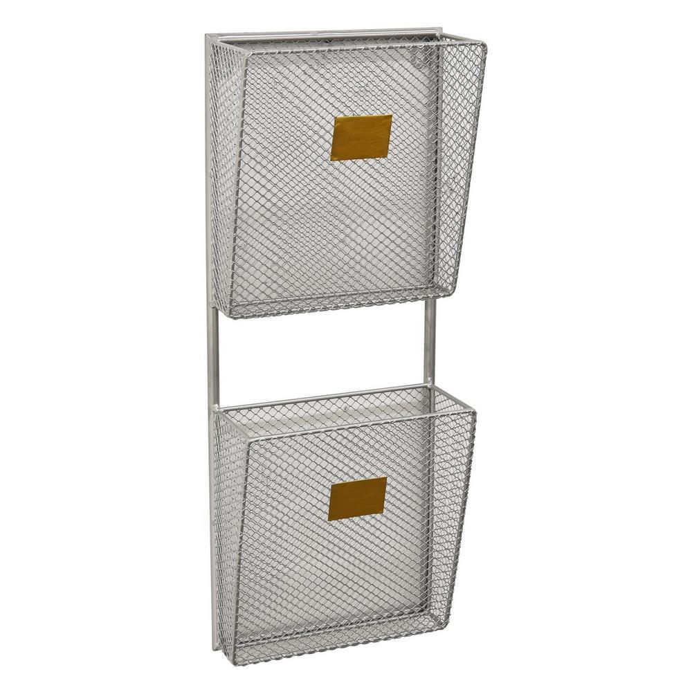8 in. x 3.75 in. x 20.5 in. Metal Wall Storage Rack 2 Tier in Silver