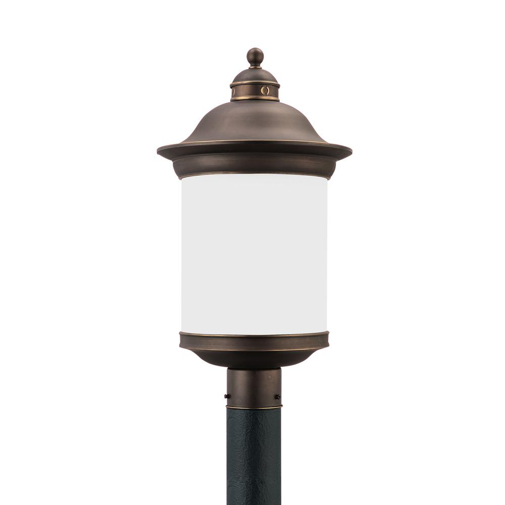 Hermitage 1-Light Outdoor Antique Bronze Post Light with LED Bulb