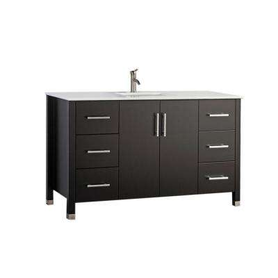 Moselle 60 in. W x 22 in. D x 36 in. H Bath Vanity in Espresso with Microstone Vanity Top in White with White Basin
