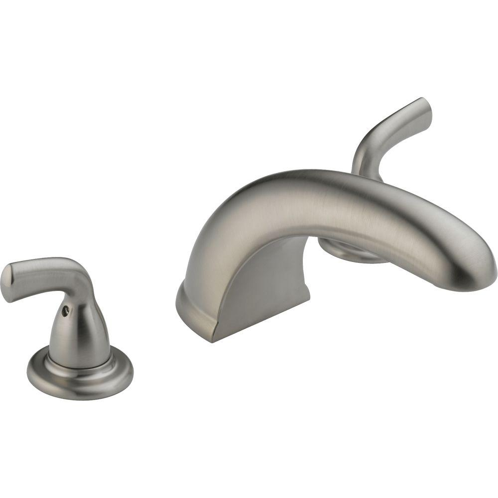 Delta Foundations 2 Handle Deck Mount Roman Tub Faucet Trim Kit Only In  Stainless