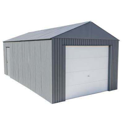 Everest 12 ft. H x 25 ft. W Charcoal Wind and Snow Rated Steel Garage