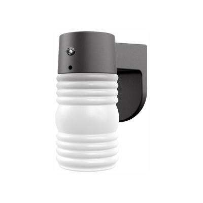 1-Light Matte Black Outdoor Wall Lantern Sconce with Photocell