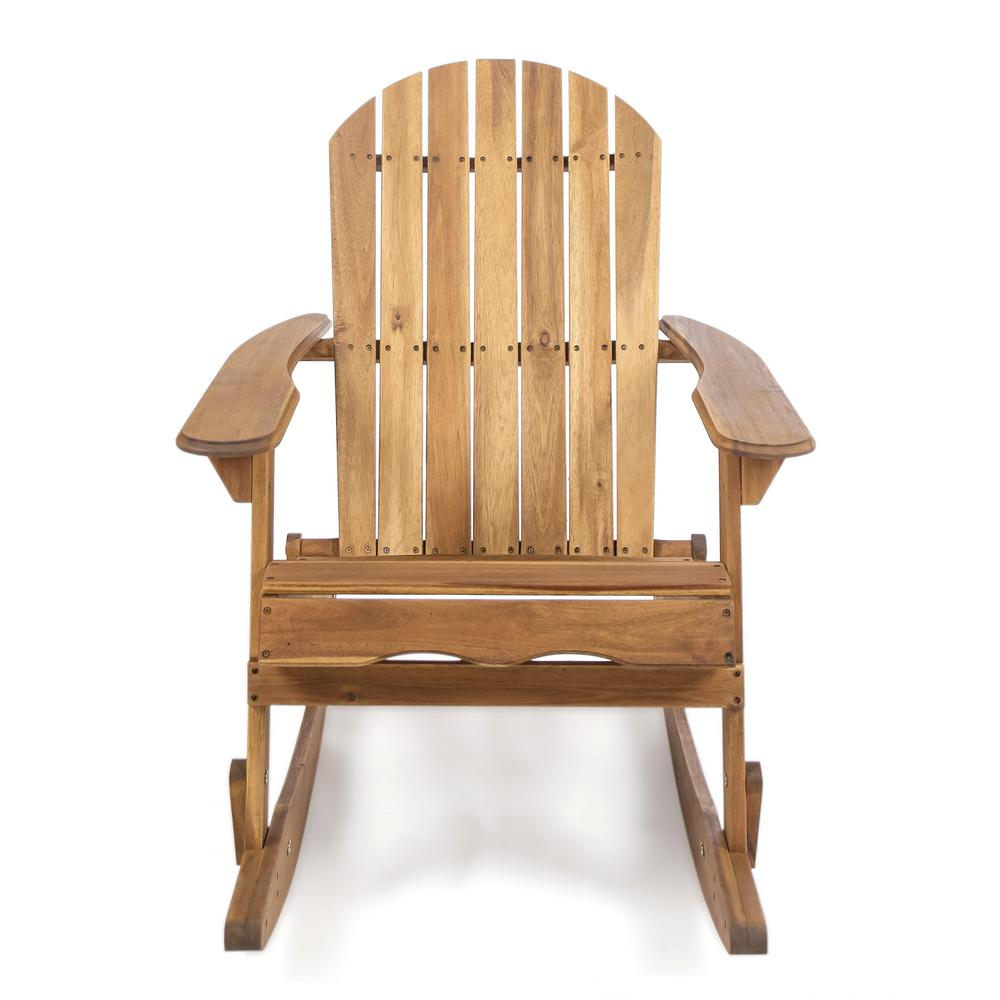Peachy Noble House Rocking Natural Stained Wood Adirondack Chair Download Free Architecture Designs Estepponolmadebymaigaardcom