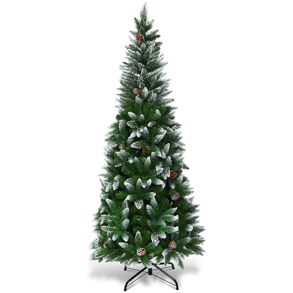 Artificial Christmas Tree With Pine Cones: Costway 5 Ft. Snow Flocked Unlit Artificial Pencil