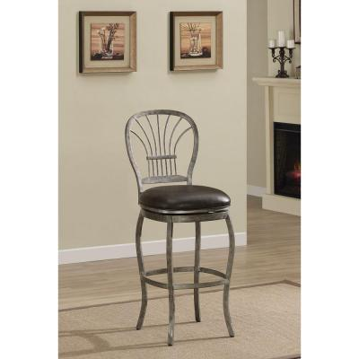 Harper 30 in. Rustic Pewter Cushioned Bar Stool
