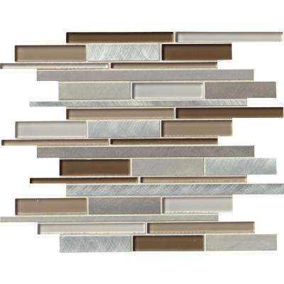 Madison Avenue Interlocking 12 in. x 12 in. x 8mm Glass Metal Mosaic Wall Tile